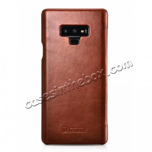 cheap ICARER Vintage Curved Edge Real Leather Flip Case For Samsung Galaxy Note 9