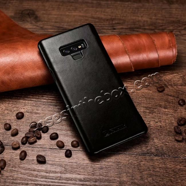 best price ICARER Vintage Curved Edge Real Leather Flip Case For Samsung Galaxy Note 9