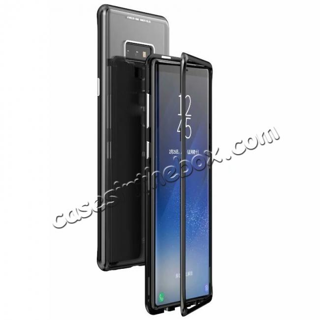 wholesale Magnetic Adsorption Case for Samsung Galaxy Note 9 Metal Bumper + Tempered Glass Back Cover - Black