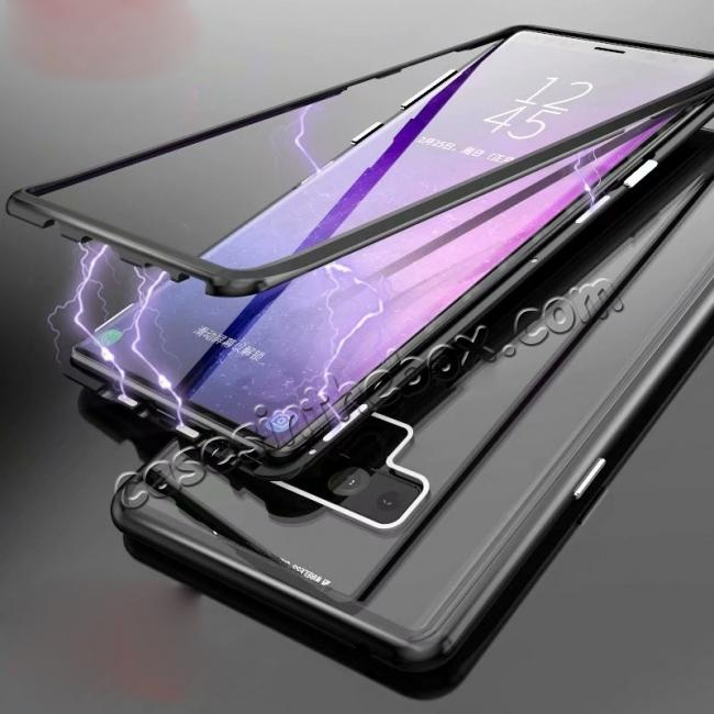 cheap Magnetic Adsorption Case for Samsung Galaxy Note 9 Metal Bumper + Tempered Glass Back Cover - Black