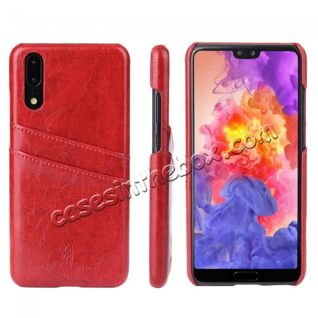 wholesale Oil Wax Card Holder Back PU Leather Case for Huawei P20 - Red