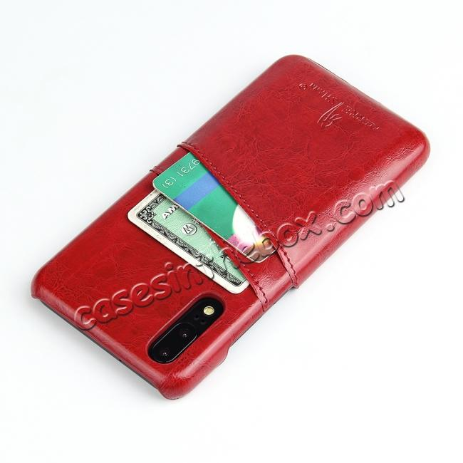 discount Oil Wax Card Holder Back PU Leather Case for Huawei P20 - Red