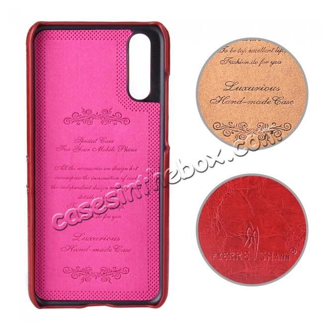 cheap Oil Wax Card Holder Back PU Leather Case for Huawei P20 - Red