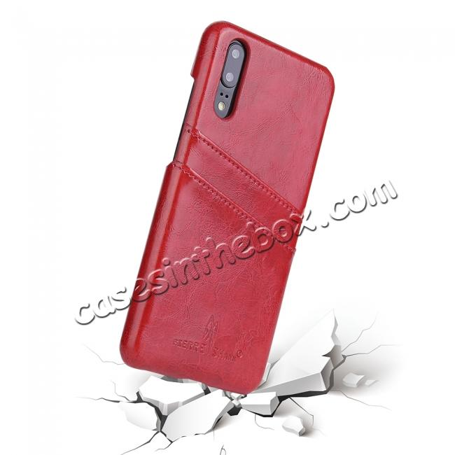 top quality Oil Wax Card Holder Back PU Leather Case for Huawei P20 - Red