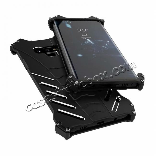 discount R-JUST Aluminum Metal Shockproof Protective Case for Samsung Galaxy Note 9 - Black