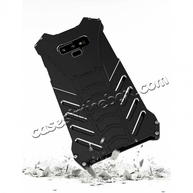 cheap R-JUST Aluminum Metal Shockproof Protective Case for Samsung Galaxy Note 9 - Black