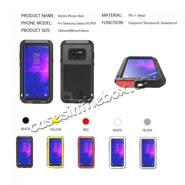 china wholesale Shockproof Aluminum Metal Case Heavy Duty Cover For Samsung Galaxy Note 9 - Black
