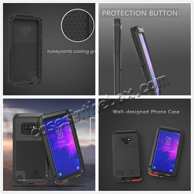 high quanlity Shockproof Aluminum Metal Case Heavy Duty Cover For Samsung Galaxy Note 9 - Black