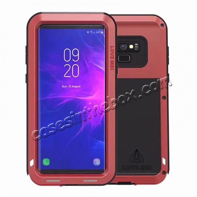 wholesale Shockproof Aluminum Metal Case Heavy Duty Cover For Samsung Galaxy Note 9 - Red