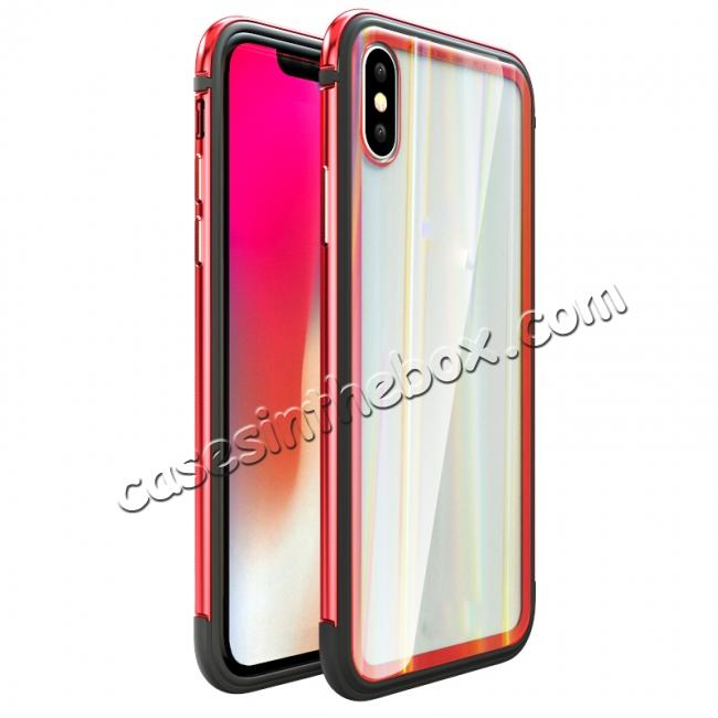 wholesale Shockproof Aluminum TPU Glass Hybrid Shield Case for iPhone 7/7 Plus/8/8 Plus  iPhone X