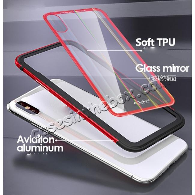low price Shockproof Aluminum TPU Glass Hybrid Shield Case for iPhone 7/7 Plus/8/8 Plus  iPhone X