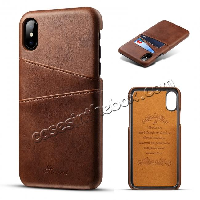 wholesale Case For iPhone XR Max Vintage Leather Wallet Card Slot Holder Back Cover - Dark Brown