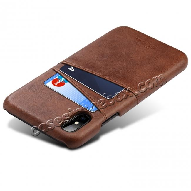 discount Case For iPhone XR Max Vintage Leather Wallet Card Slot Holder Back Cover - Dark Brown