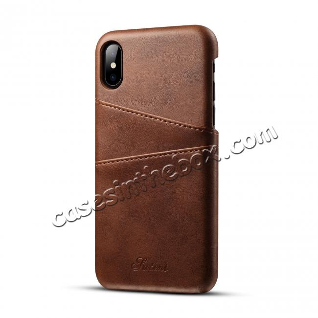 cheap Case For iPhone XR Max Vintage Leather Wallet Card Slot Holder Back Cover - Dark Brown