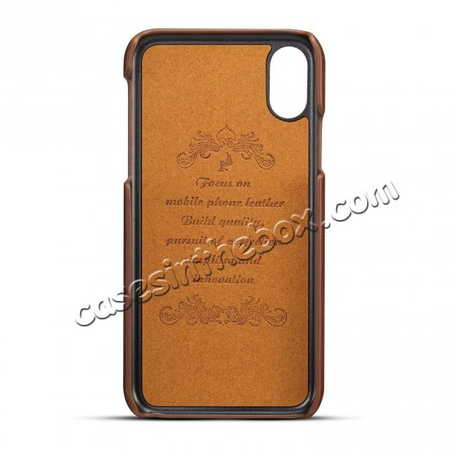 top quality Case For iPhone XR Max Vintage Leather Wallet Card Slot Holder Back Cover - Dark Brown
