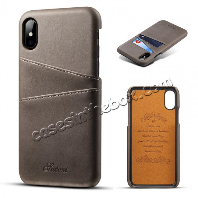 wholesale Case For iPhone XR Max Vintage Leather Wallet Card Slot Holder Back Cover - Grey