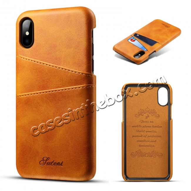 wholesale Case For iPhone XR Max Vintage Leather Wallet Card Slot Holder Back Cover - Light Brown