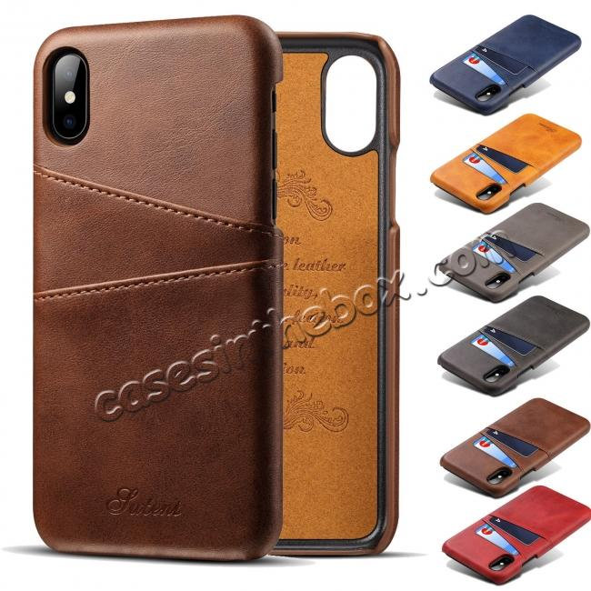 cheap Case For iPhone XR Max Vintage Leather Wallet Card Slot Holder Back Cover - Light Brown
