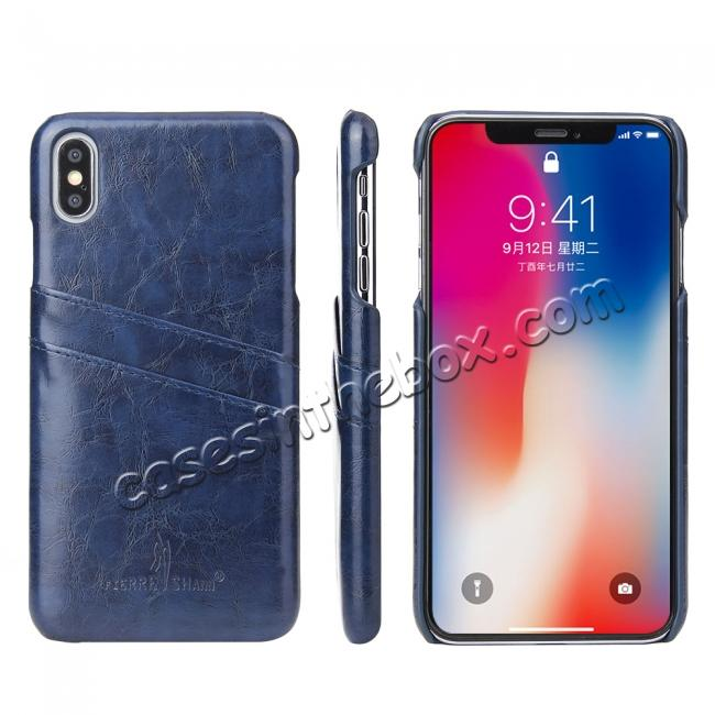 cheap Case for iPhone XS Max Oil Wax Leather Credit Card Holder Back Cover