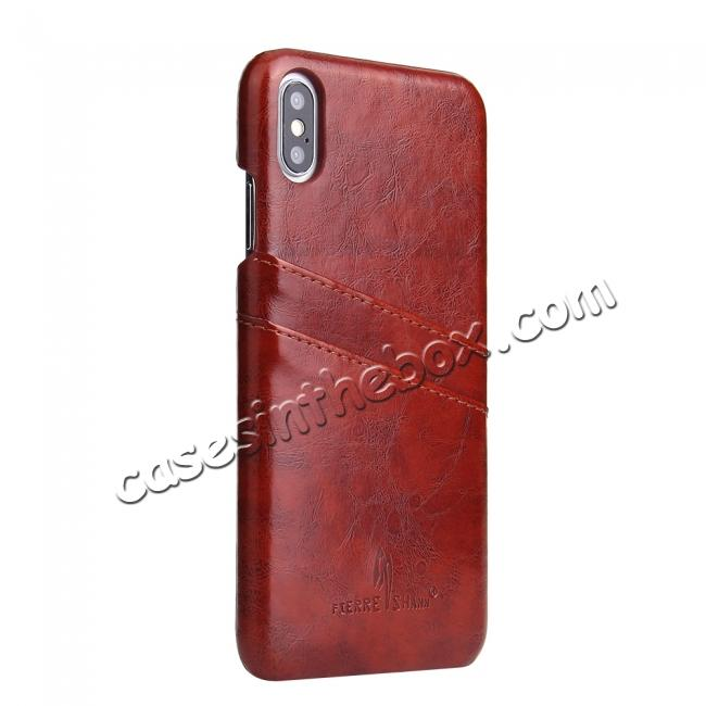 low price Case for iPhone XS Max Oil Wax Leather Credit Card Holder Back Cover