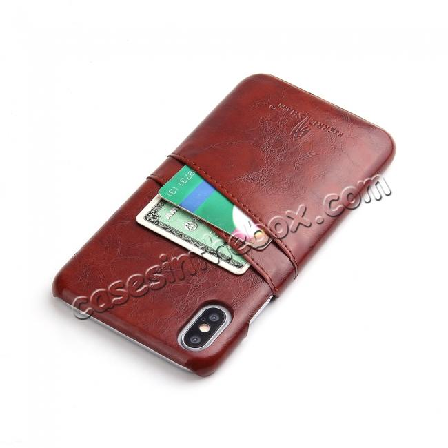 high quanlity Case for iPhone XS Max Oil Wax Leather Credit Card Holder Back Cover