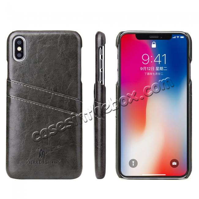 best price Case for iPhone XS Max Oil Wax Leather Credit Card Holder Back Cover