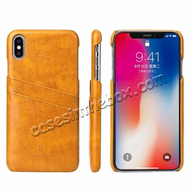 on sale Case for iPhone XS Max Oil Wax Leather Credit Card Holder Back Cover