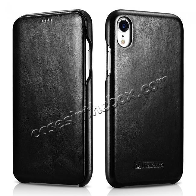 cheap For iPhone XR ICARER Vintage Curved Edge Flip Real Leather Case