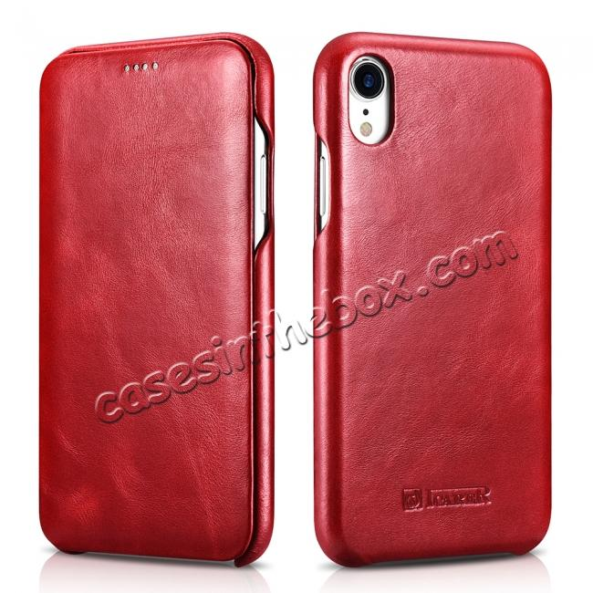top quality For iPhone XR ICARER Vintage Curved Edge Flip Real Leather Case