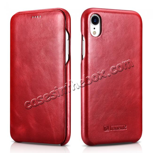 best price For iPhone XR ICARER Vintage Curved Edge Flip Real Leather Case