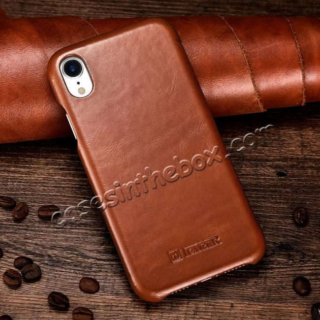 high quanlity For iPhone XR ICARER Vintage Curved Edge Flip Real Leather Case