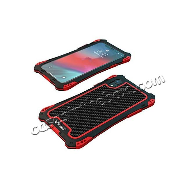 discount For iPhone XS Max Aluminum Metal TPU Shockproof Carbon Fiber Case - Black Red