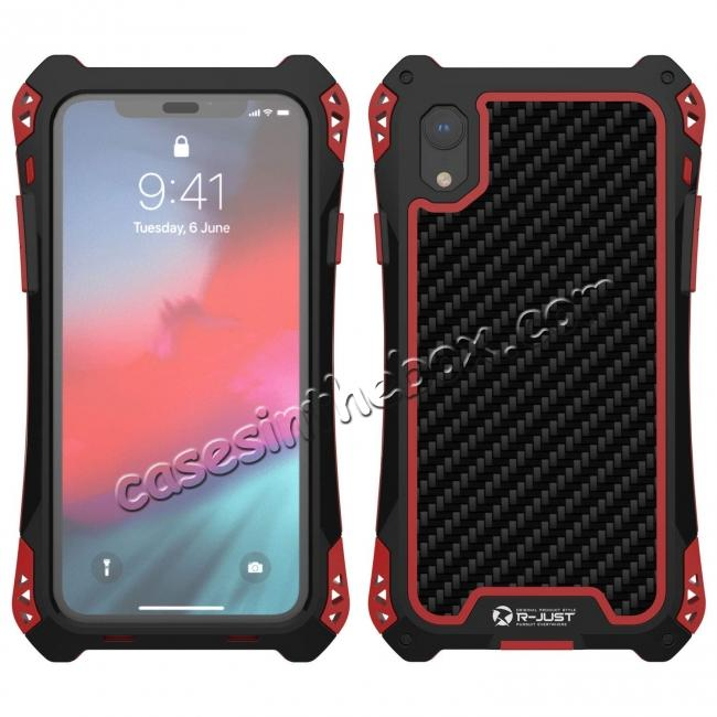 low price For iPhone XS Max Aluminum Metal TPU Shockproof Carbon Fiber Case - Black Red
