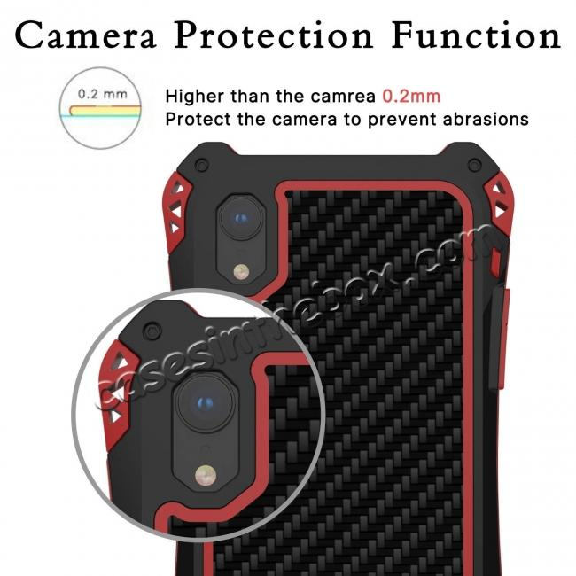 high quanlity For iPhone XS Max Aluminum Metal TPU Shockproof Carbon Fiber Case - Black Red