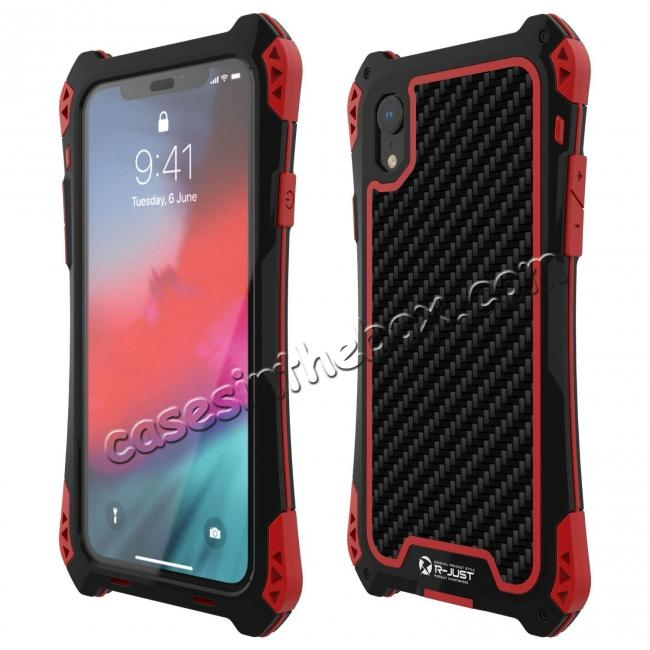 wholesale For iPhone XS Max Aluminum Metal TPU Shockproof Carbon Fiber Case - Black Red