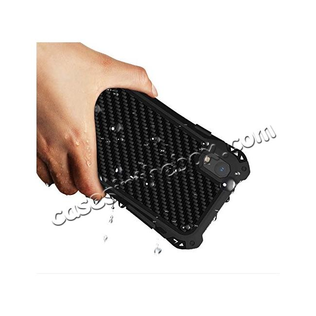 cheap For iPhone XS Max Aluminum Metal TPU Shockproof Carbon Fiber Case - Black