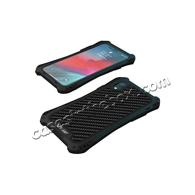 top quality For iPhone XS Max Aluminum Metal TPU Shockproof Carbon Fiber Case - Black