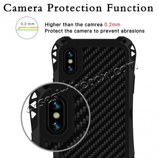 best price For iPhone XS Max Aluminum Metal TPU Shockproof Carbon Fiber Case - Black