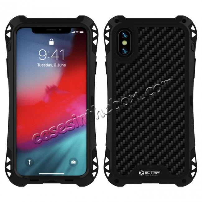 discount For iPhone XS Max Aluminum Metal TPU Shockproof Carbon Fiber Case - Black