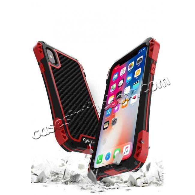 top quality For iPhone XS Max Aluminum Metal TPU Shockproof Carbon Fiber Case - Gold Red