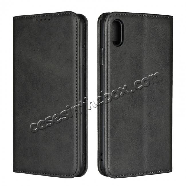 wholesale For iPhone XS Max Leather Flip Magnetic Wallet Card Stand Case Cover - Black