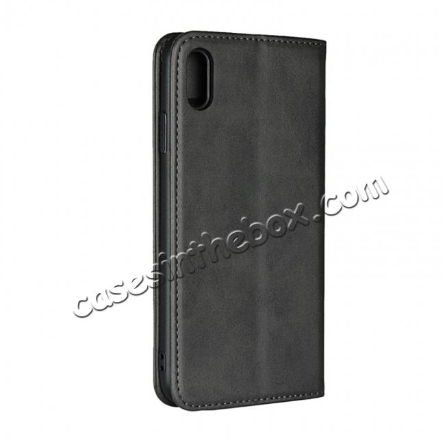 cheap For iPhone XS Max Leather Flip Magnetic Wallet Card Stand Case Cover - Black