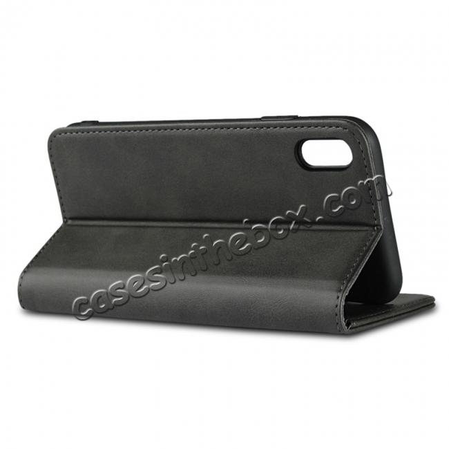 best price For iPhone XS Max Leather Flip Magnetic Wallet Card Stand Case Cover - Black