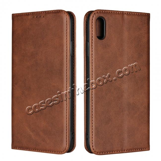 wholesale For iPhone XS Max Leather Flip Magnetic Wallet Card Stand Case Cover - Dark Brown