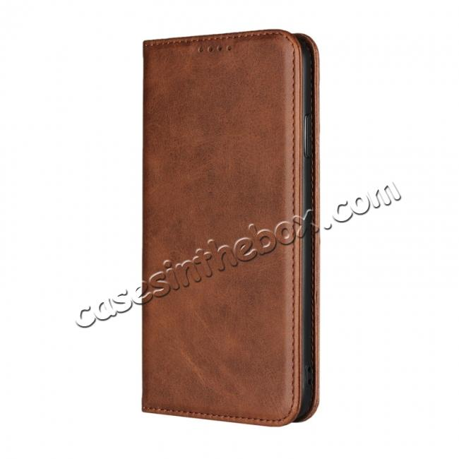 discount For iPhone XS Max Leather Flip Magnetic Wallet Card Stand Case Cover - Dark Brown