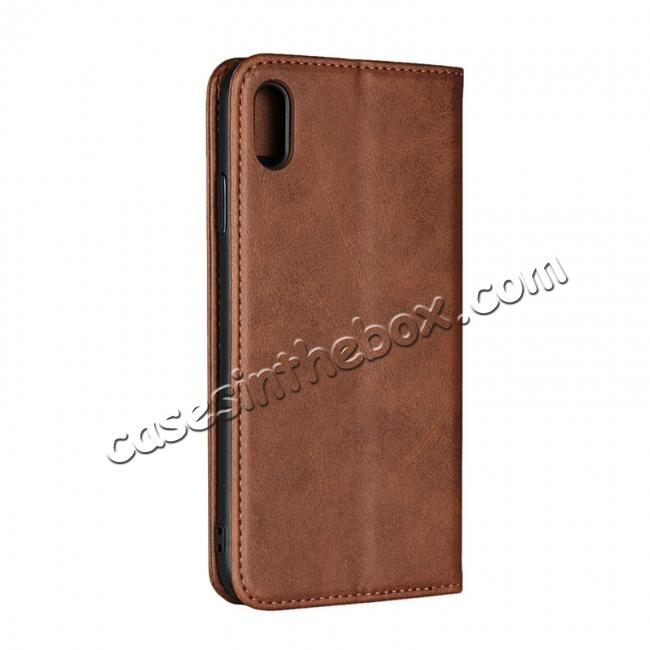 cheap For iPhone XS Max Leather Flip Magnetic Wallet Card Stand Case Cover - Dark Brown
