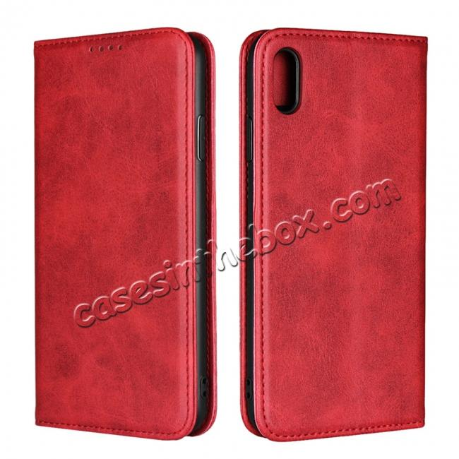 wholesale For iPhone XS Max Leather Flip Magnetic Wallet Card Stand Case Cover - Red