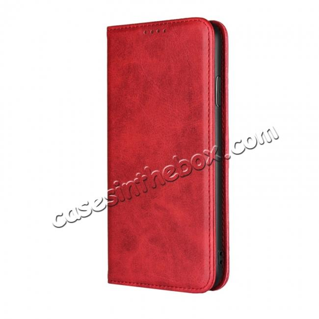 discount For iPhone XS Max Leather Flip Magnetic Wallet Card Stand Case Cover - Red