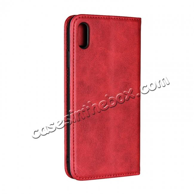 cheap For iPhone XS Max Leather Flip Magnetic Wallet Card Stand Case Cover - Red
