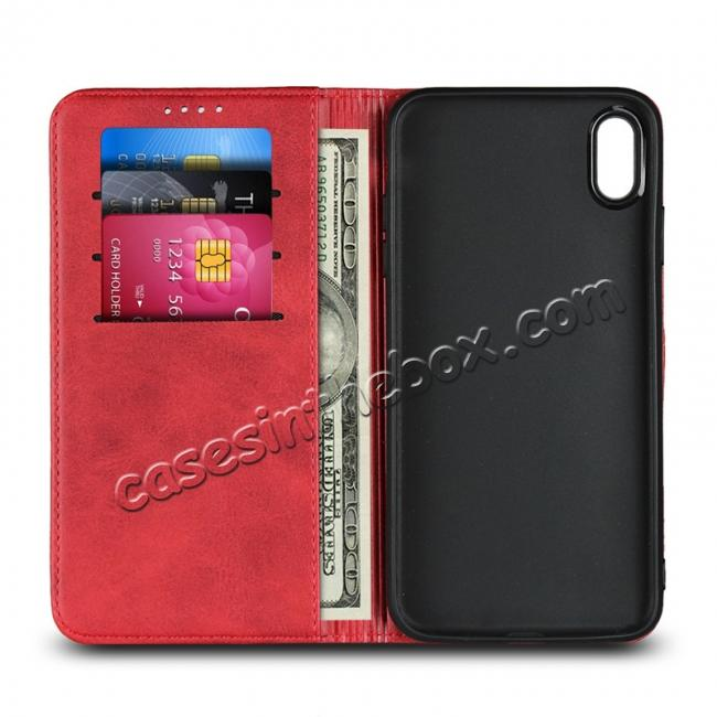 top quality For iPhone XS Max Leather Flip Magnetic Wallet Card Stand Case Cover - Red